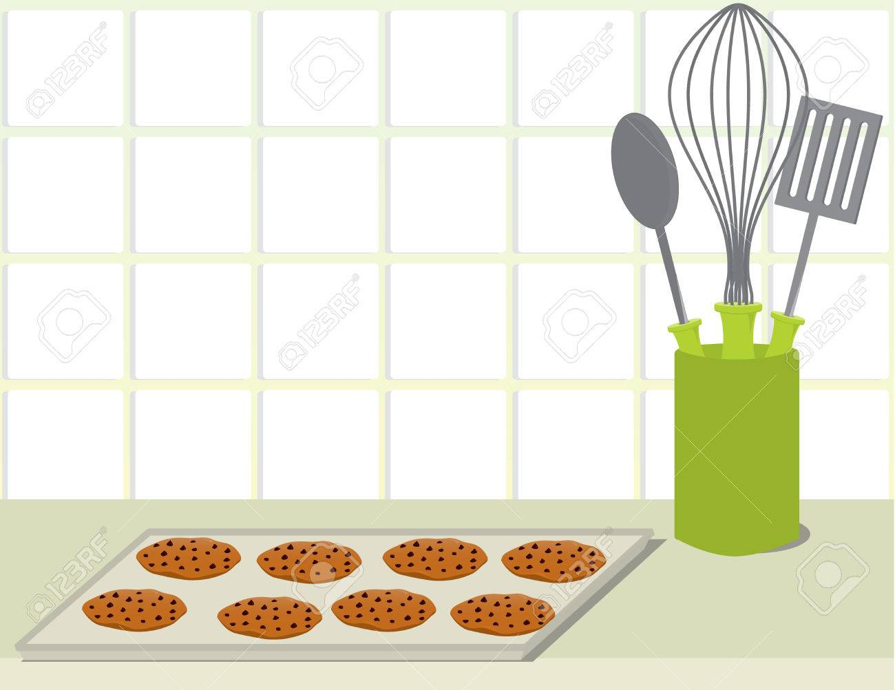 Tray of chocolate chip cookies on a counter with a plate stack and a container of cooking utensils Stock Vector - 6468283