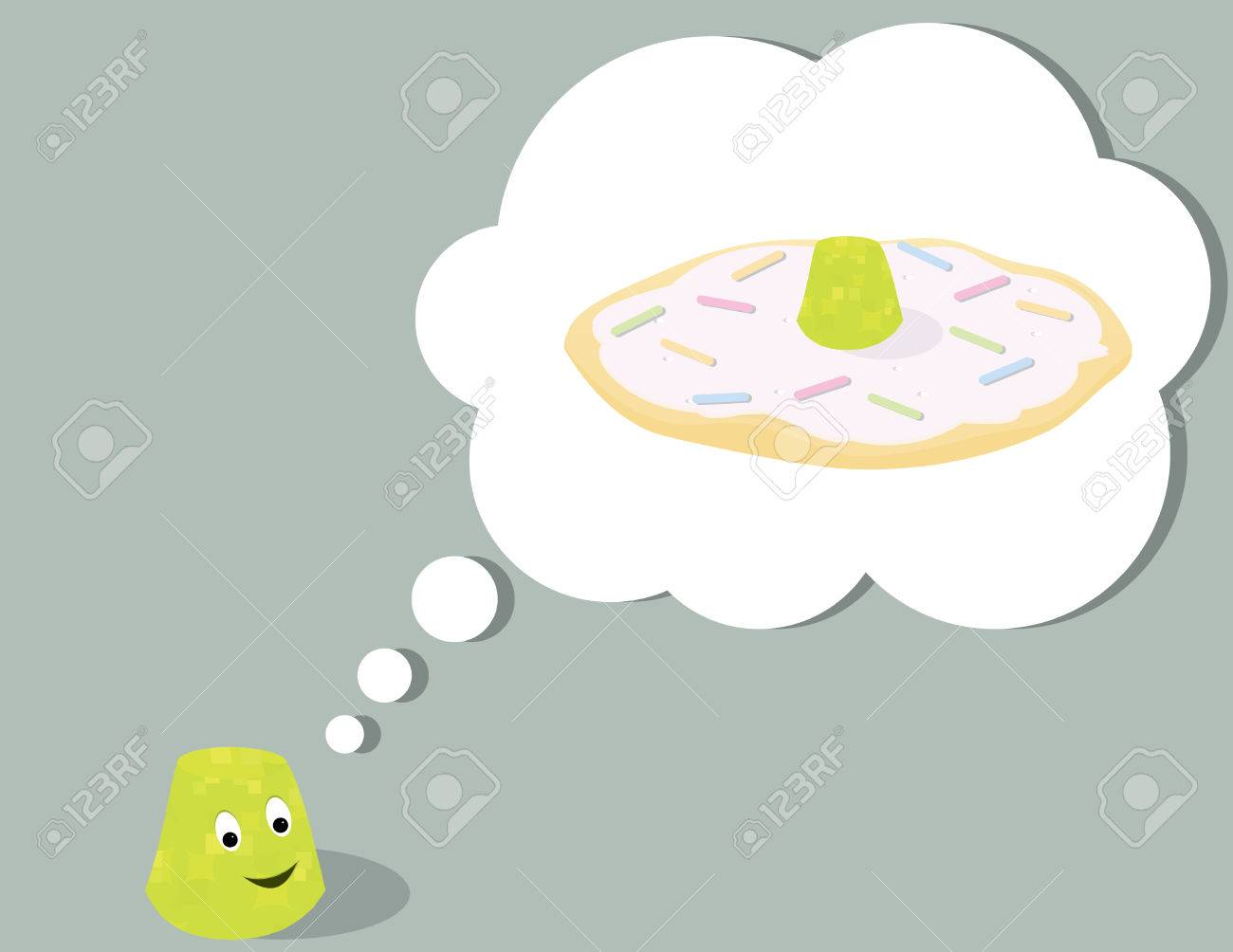 Smiling gumdrop thinking of a cookie all on a gray background Stock Vector - 6468234