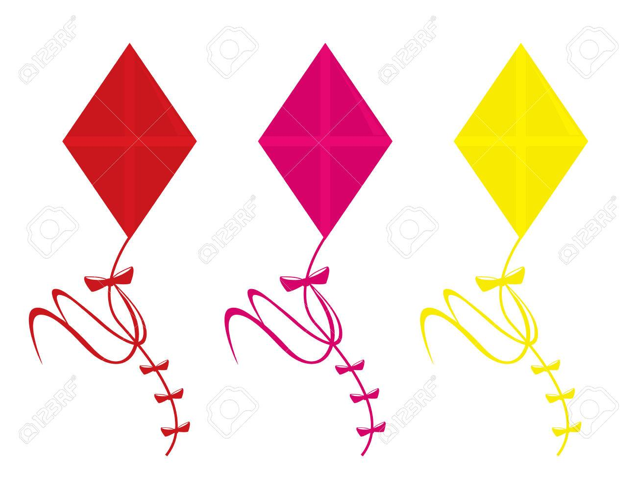 Three kite color variations isolated on a white background Stock Vector - 6468193