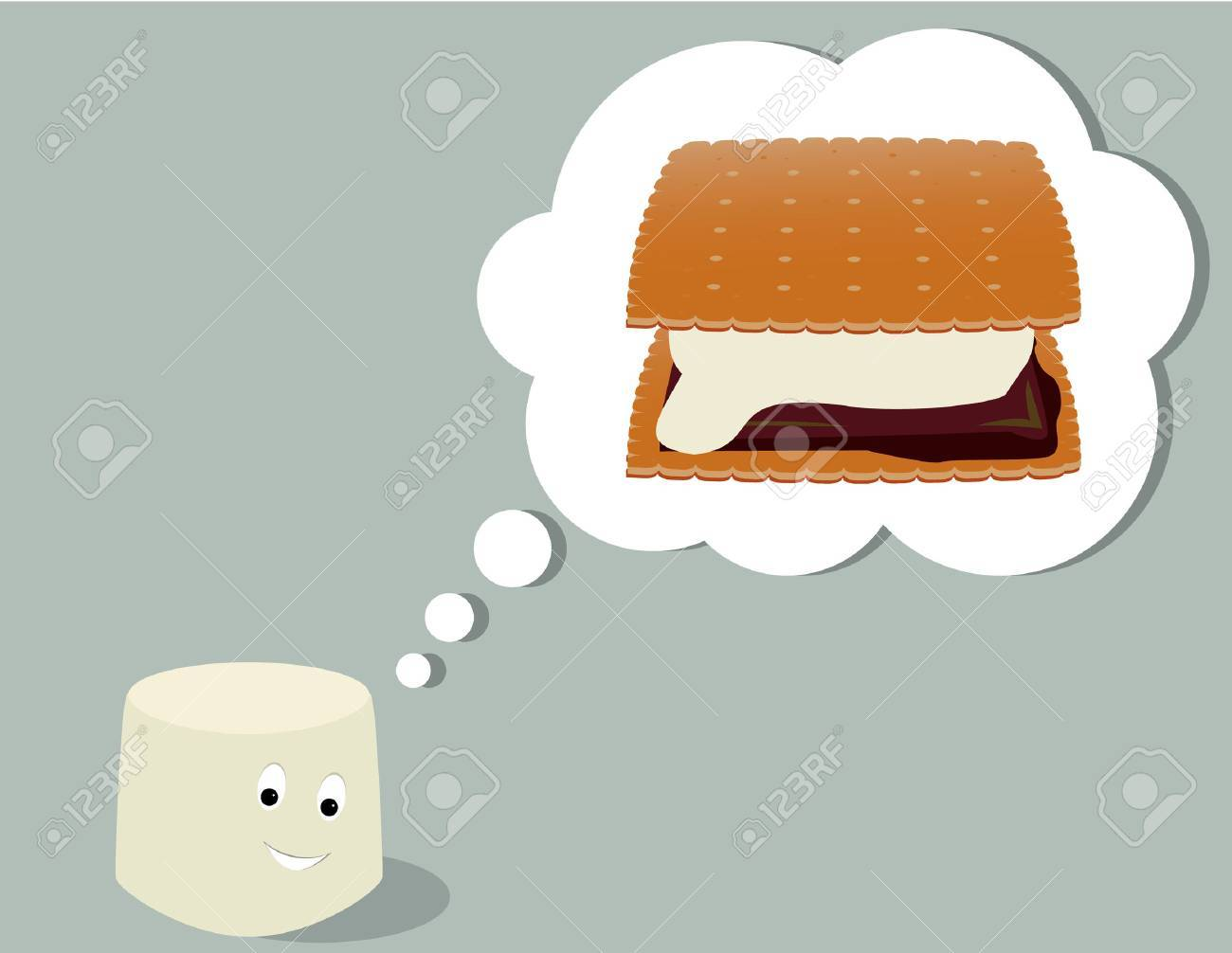 Smiling marshmallow thinking of a smore all on a gray background Stock Vector - 6468307