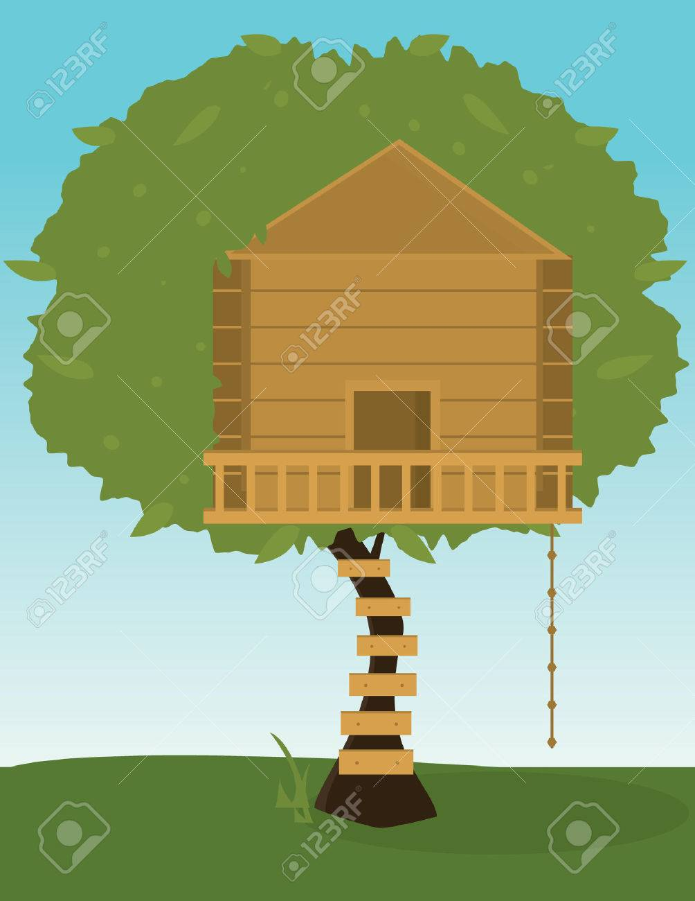 Tree with wooden treehouse and climbing rope Stock Vector - 6468221
