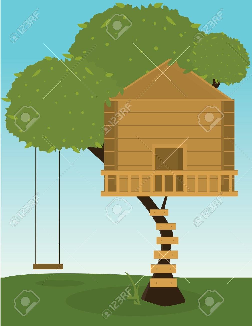 Tree with wooden treehouse and tree swing Stock Vector - 6468264