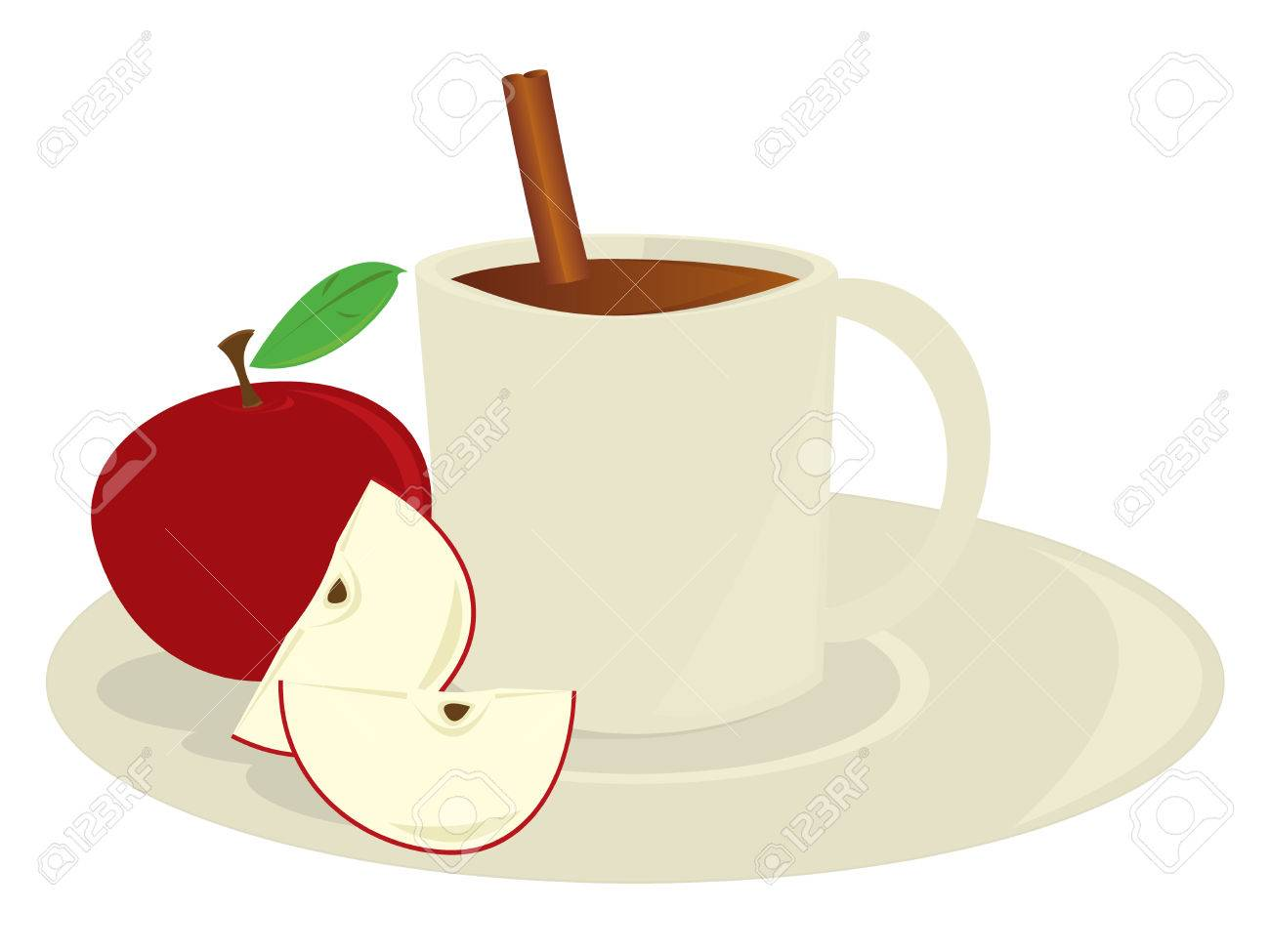 Mug of apple cider with apples and a cinnamon stick isolated on a white background - 6468180