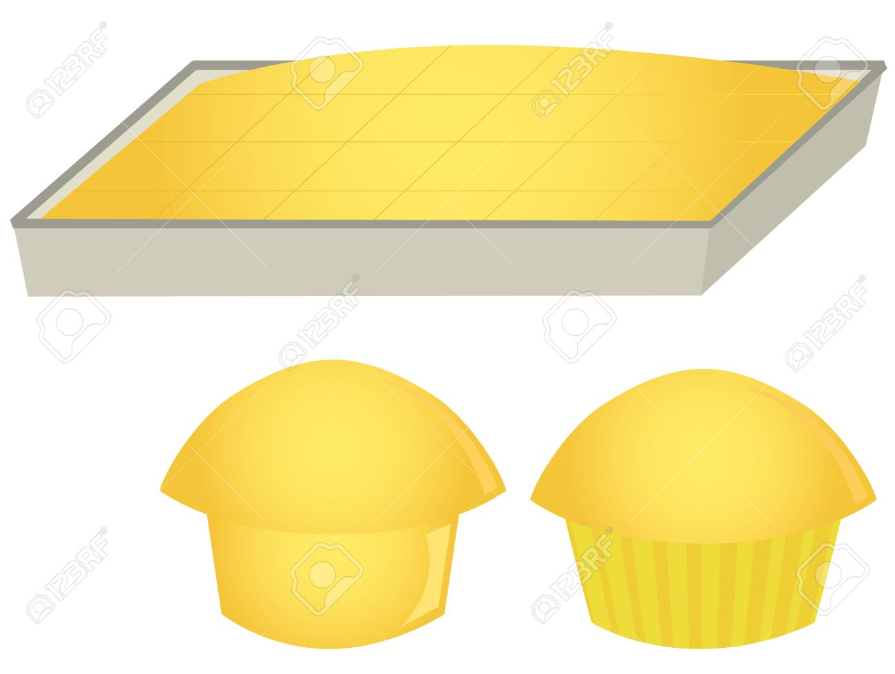 Cornbread in pan and muffins isolated on a white background - 6468184