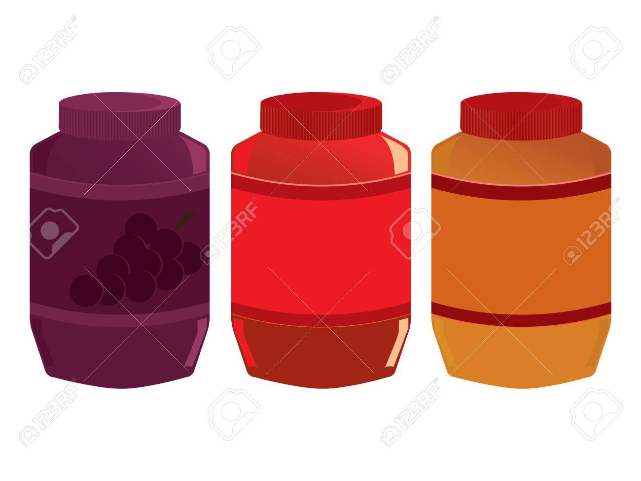 Jars of peanut butter and jelly isolated on a white background Stock Vector - 6468223