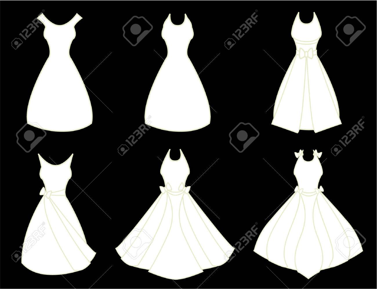 A set of white fancy dresses isolated on a black background Stock Vector - 6468304