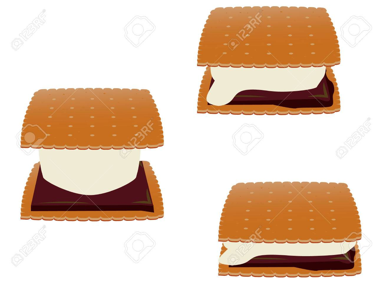 Smores in three stages of melting isolated on a white background Stock Vector - 6468319