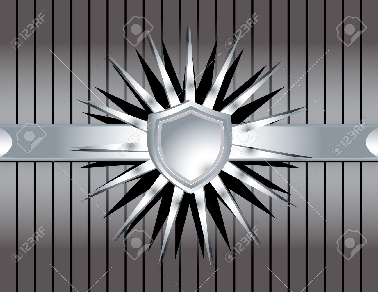 A silver metallic shield with spiky rays on a gray striped background Stock Vector - 7315161