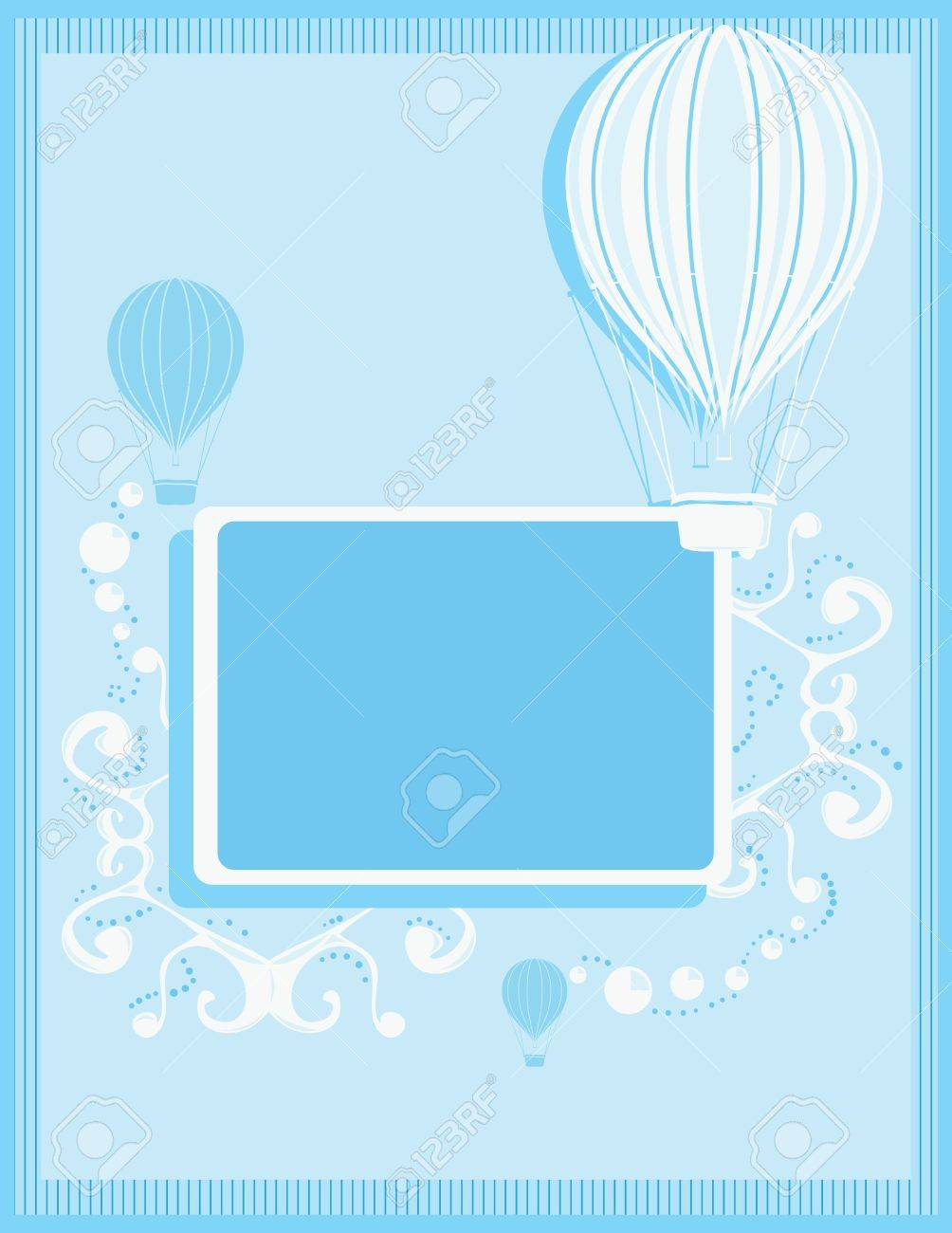 Blue and white hot air balloon background with a rectangular frame and white abstract elements - 7315118