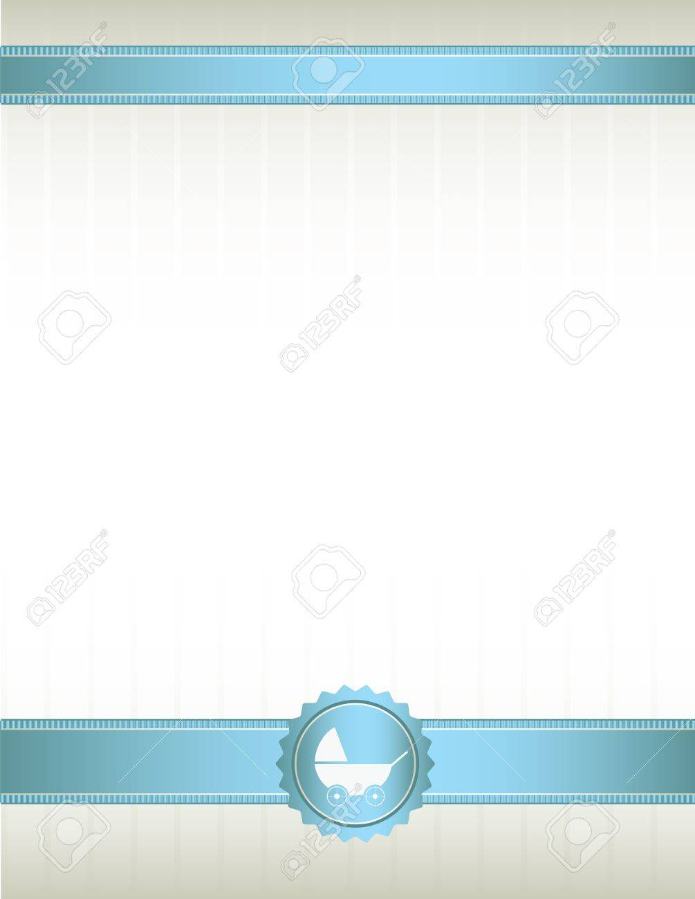 An off white background with blue ribbons at top and bottom and a baby stroller seal design Stock Vector - 7315154