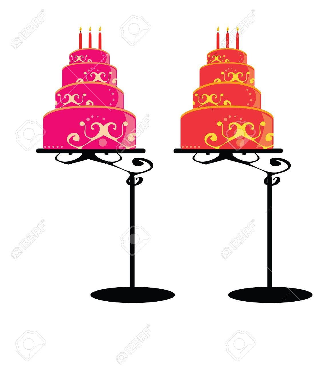 Cakes with decoration in pink and orange on a white background - 7315083