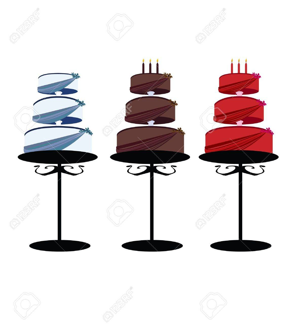 Multitier cakes with decorated layers on stands over a white background - 7315093