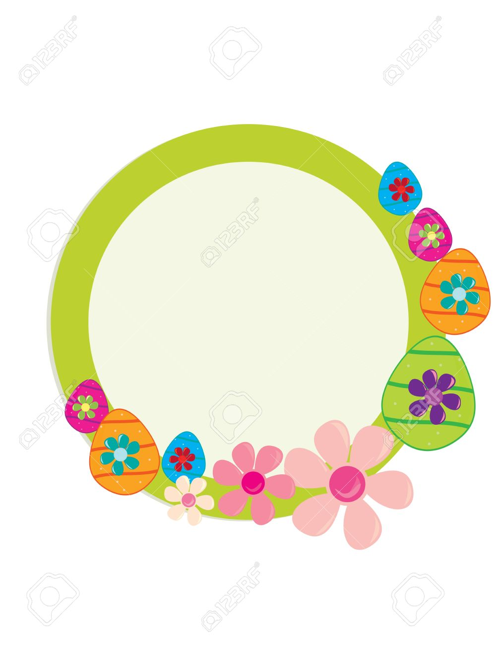 Green circular frame with Easter eggs and flowers on a white background Stock Vector - 7315105