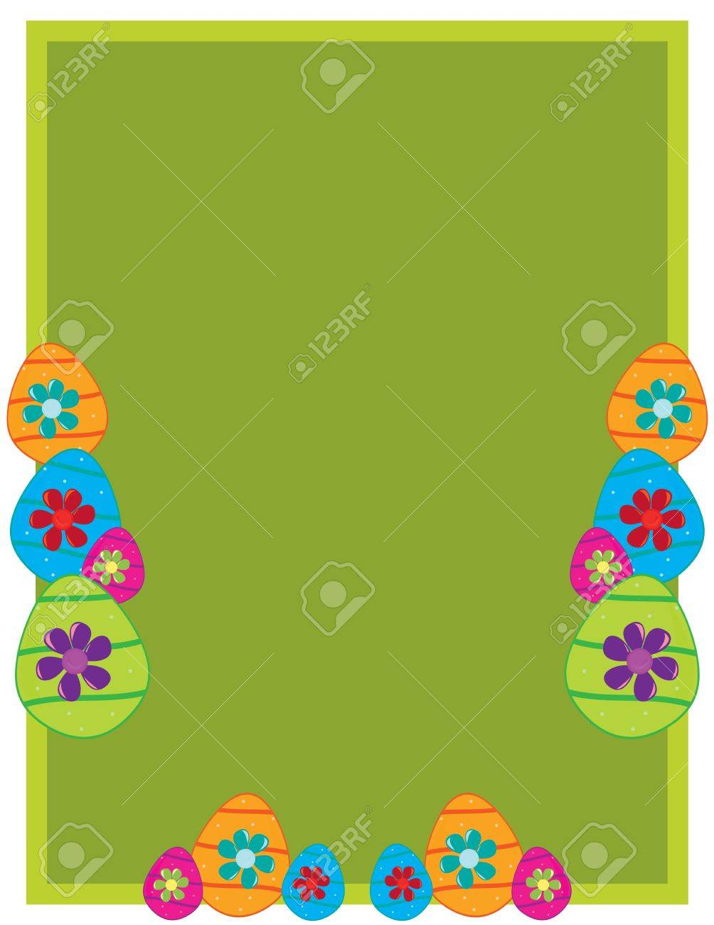 Green rectangular frame with Easter eggs and flowers on a white background Stock Vector - 7315116
