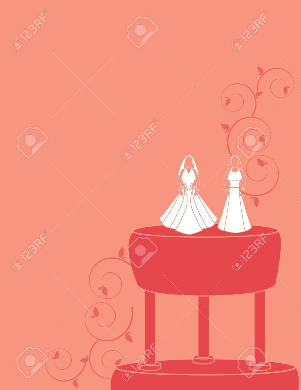 Wedding background for a female couple with brides wearing two dress designs Stock Vector - 7315109