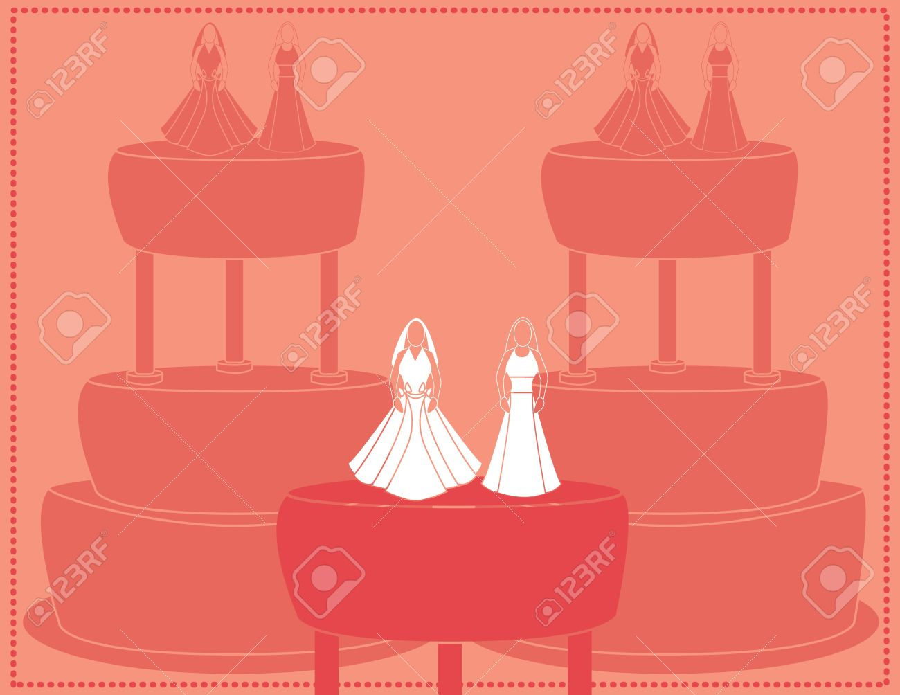 Wedding background for a female couple with brides wearing two dress designs Stock Vector - 7315133