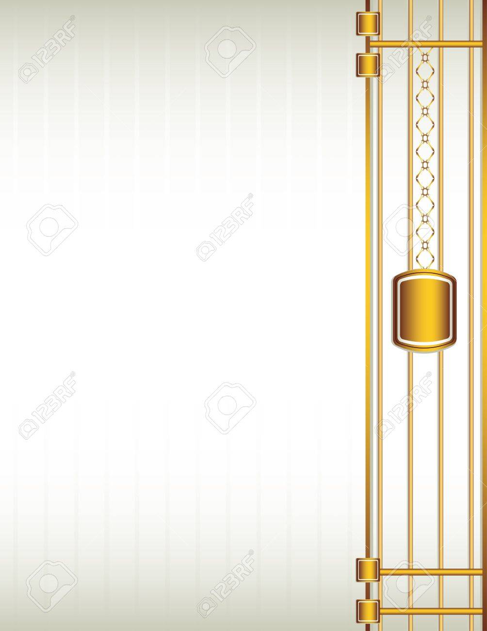 Cream background with a gold design including chain-like elements Stock Vector - 7315150