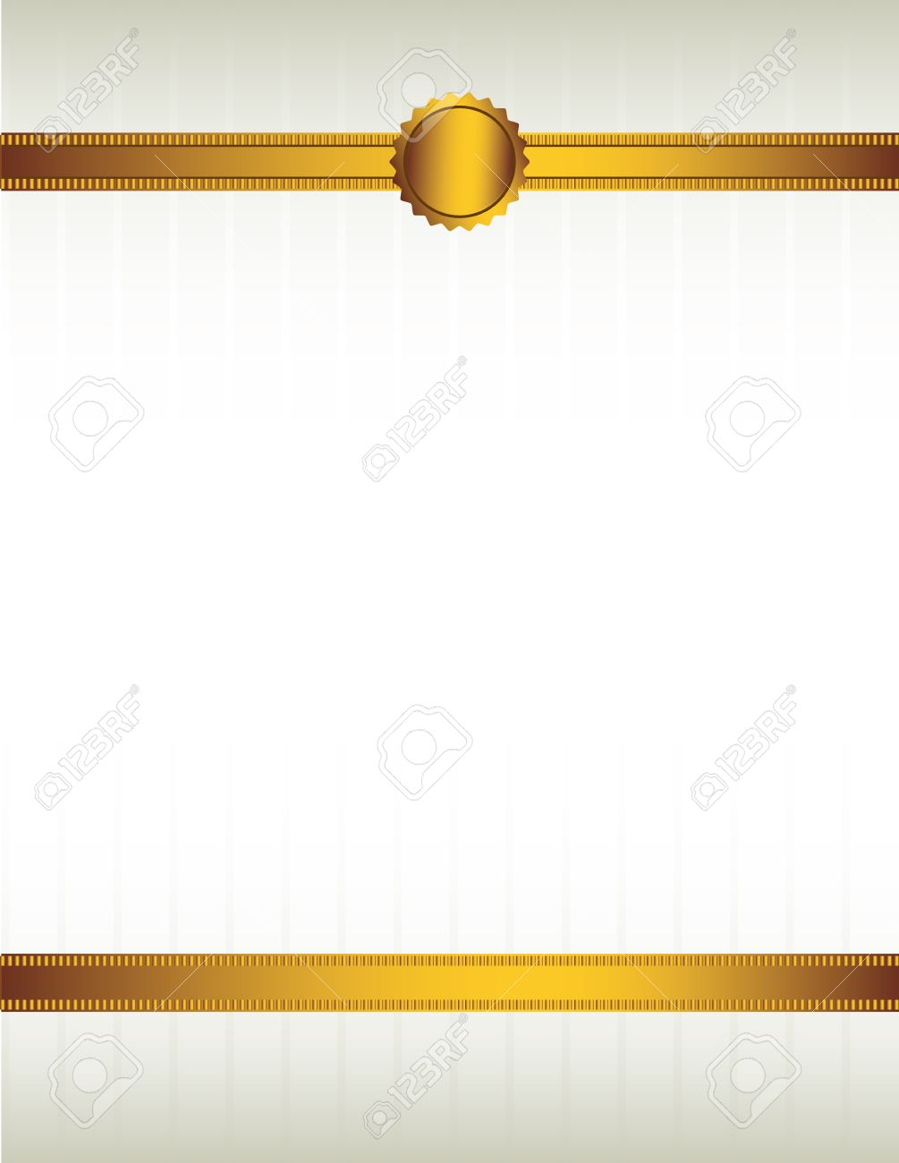 Gold ribbon and with a seal lining the top and bottom of a striped cream colored background Stock Vector - 7315163