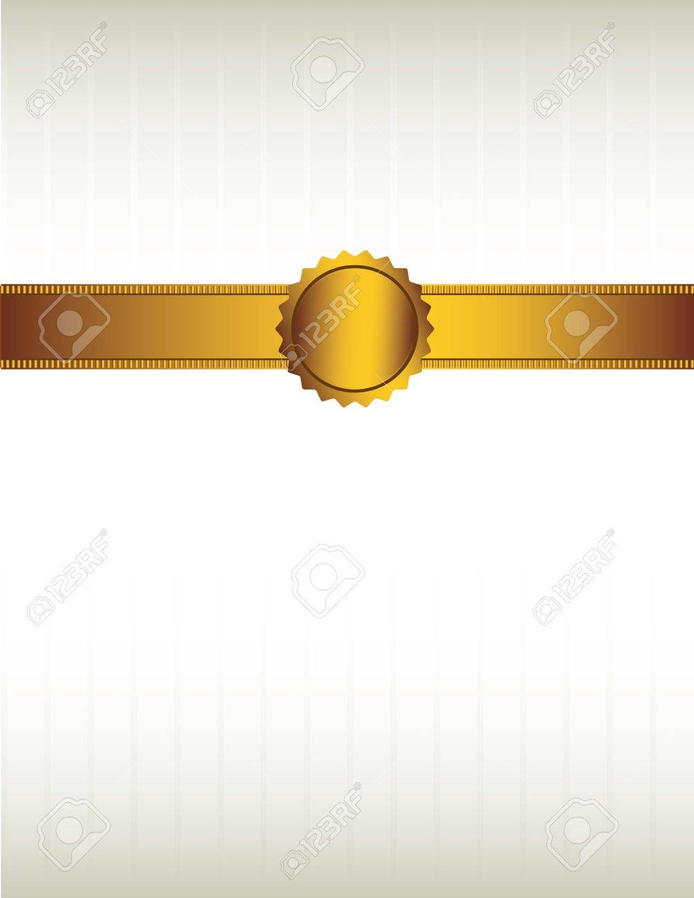 Gold ribbon and with a seal over a striped cream colored background Stock Vector - 7315152