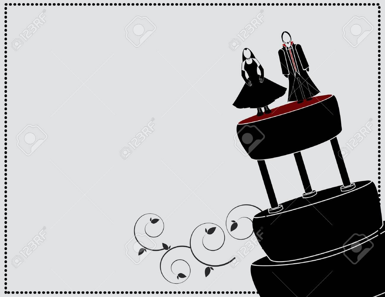 goth couple on a cake with a gray background - 7315126