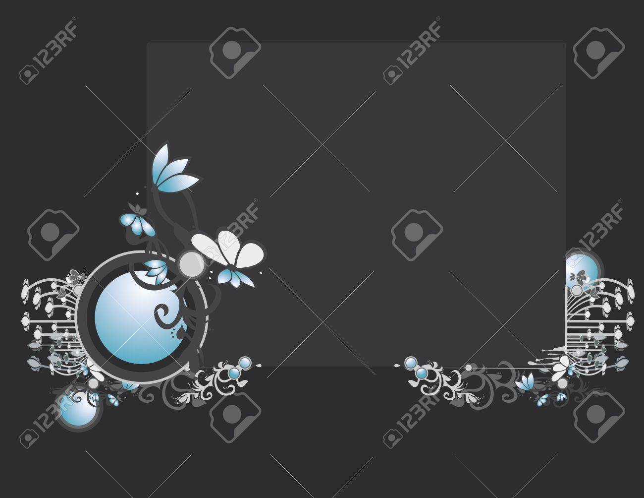 Gray blue abstract frame and background with circular elements Stock Vector - 7315143