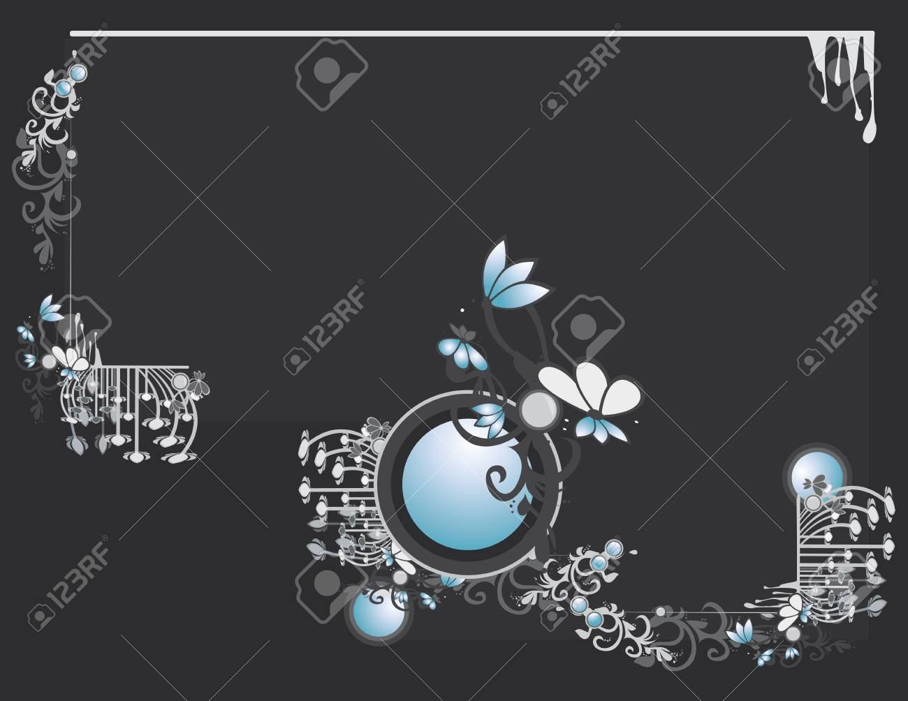 Gray blue abstract frame and background with circular elements Stock Vector - 7315149