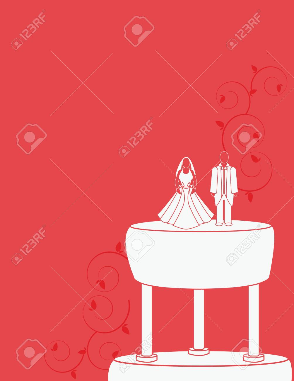 Wedding background for a couple on a cake Stock Vector - 7315111