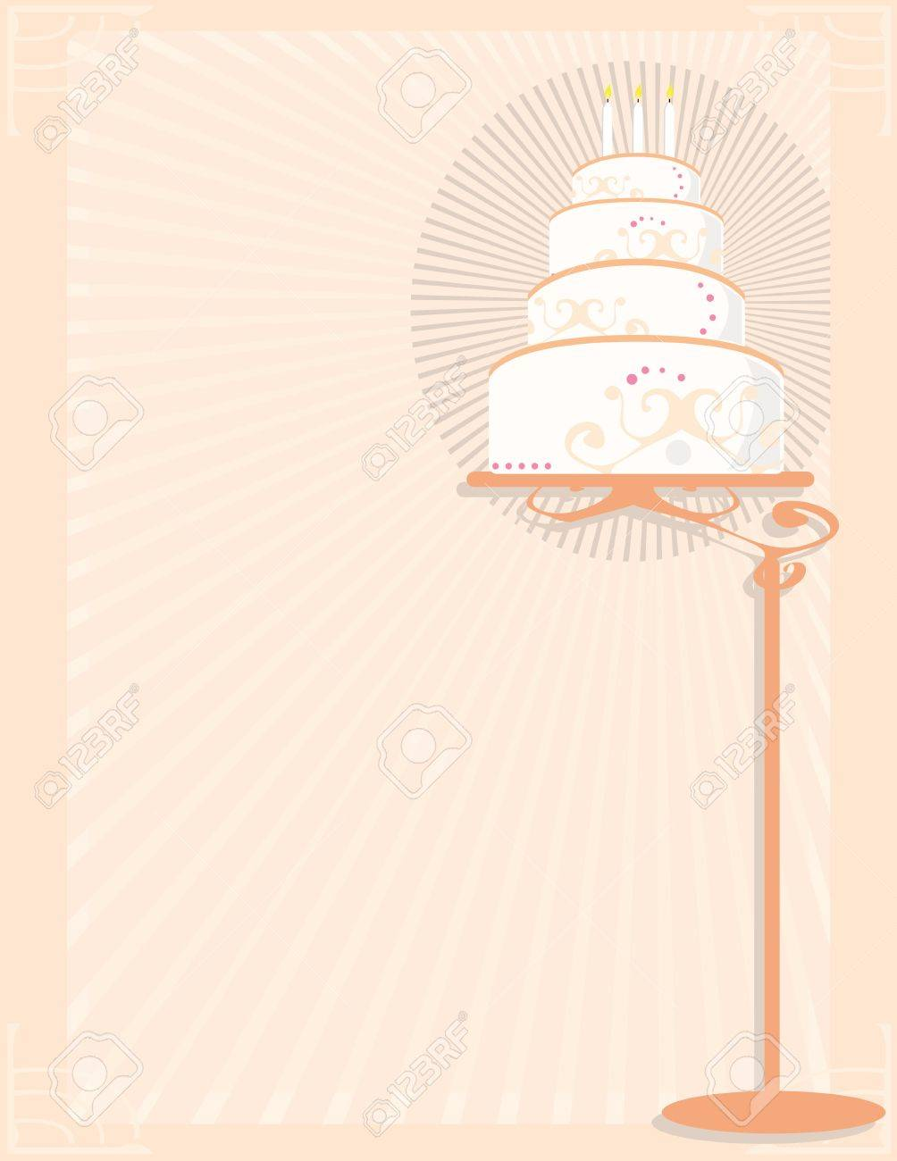 White and peach birthday cake on stand in front of a peach background Stock Vector - 7315108