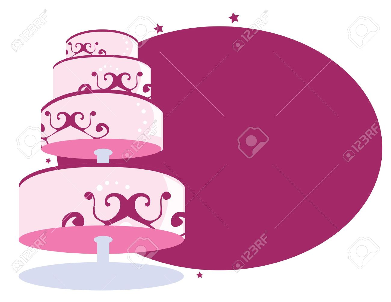 cake on stand in front of a white and purple background Stock Vector - 7315100