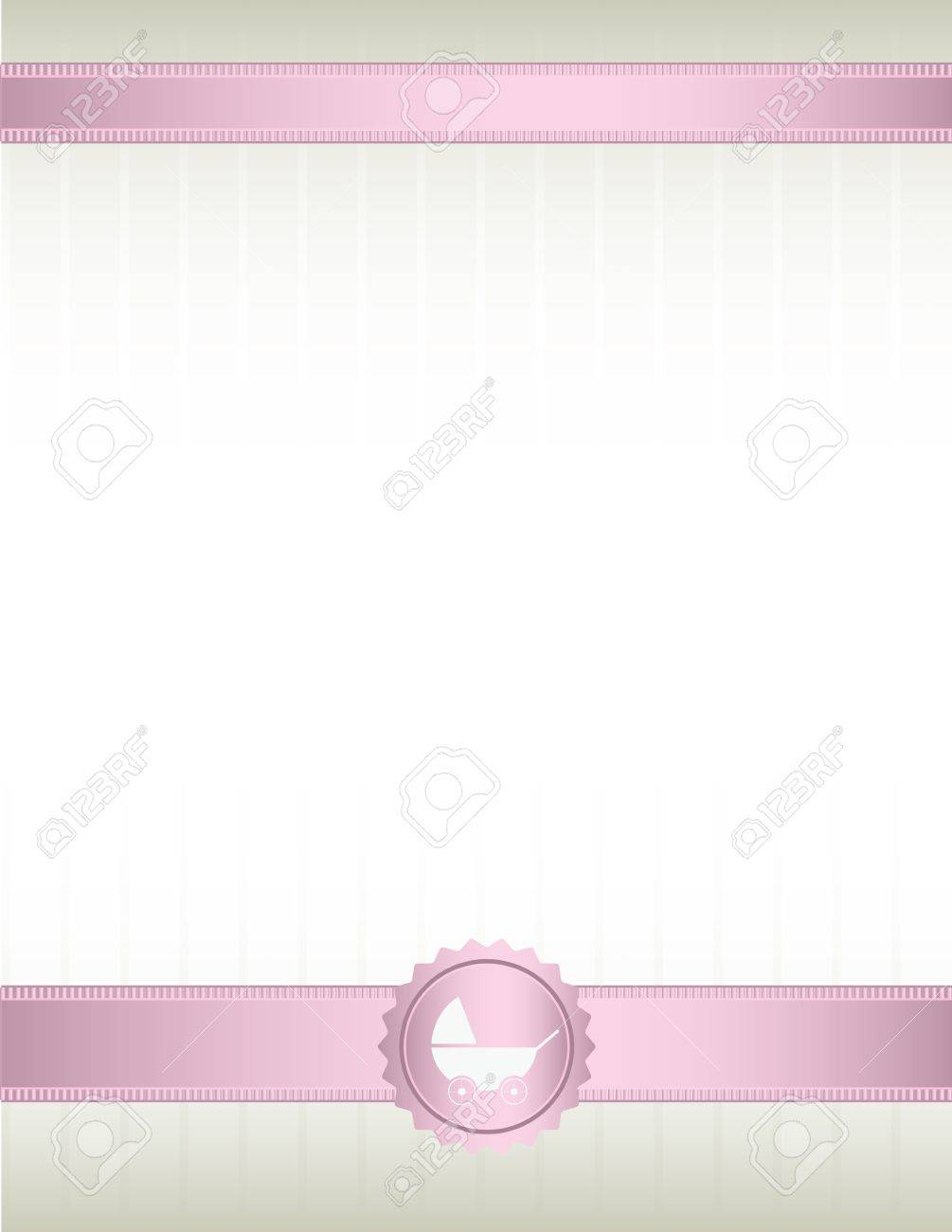 An off white background with pink ribbons at top and bottom and a baby stroller seal design Stock Vector - 7315147