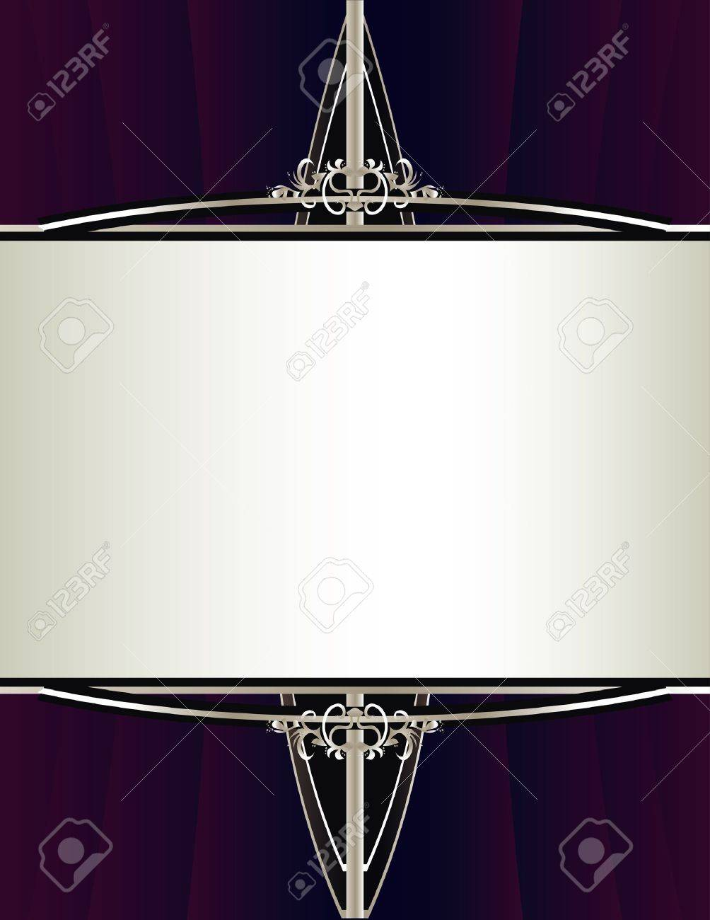 A gathered purple background with an elegant silver framing design Stock Vector - 7315137