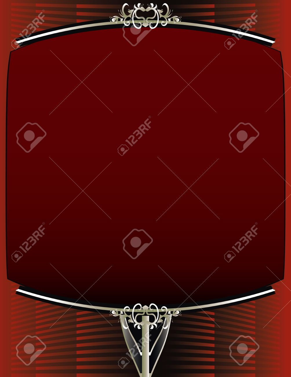 A red background with and elegant blank red and silver frame design Stock Vector - 7315155