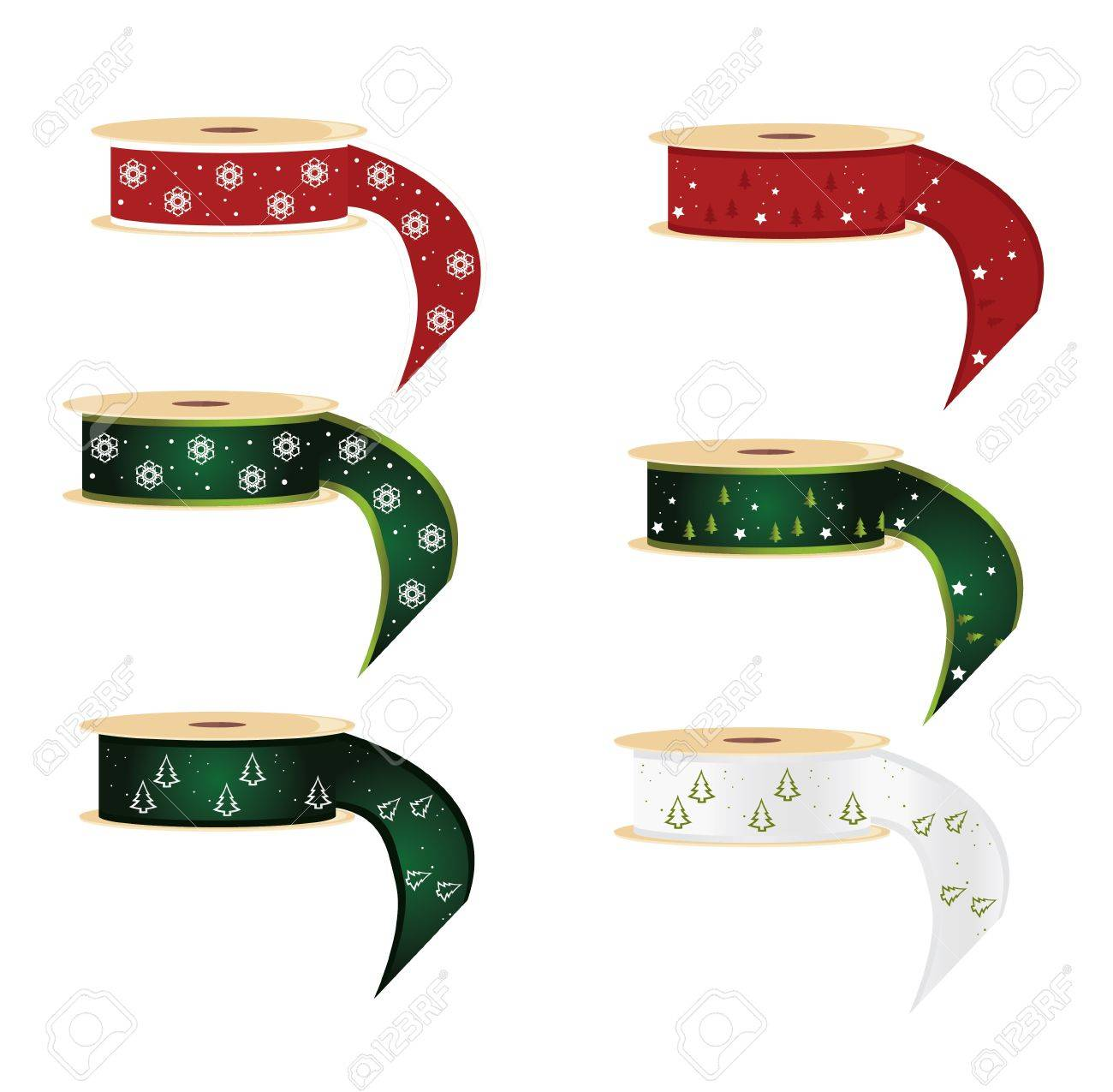 Six spools of ribbon with snowflake and pine tree designs Stock Vector - 7315103