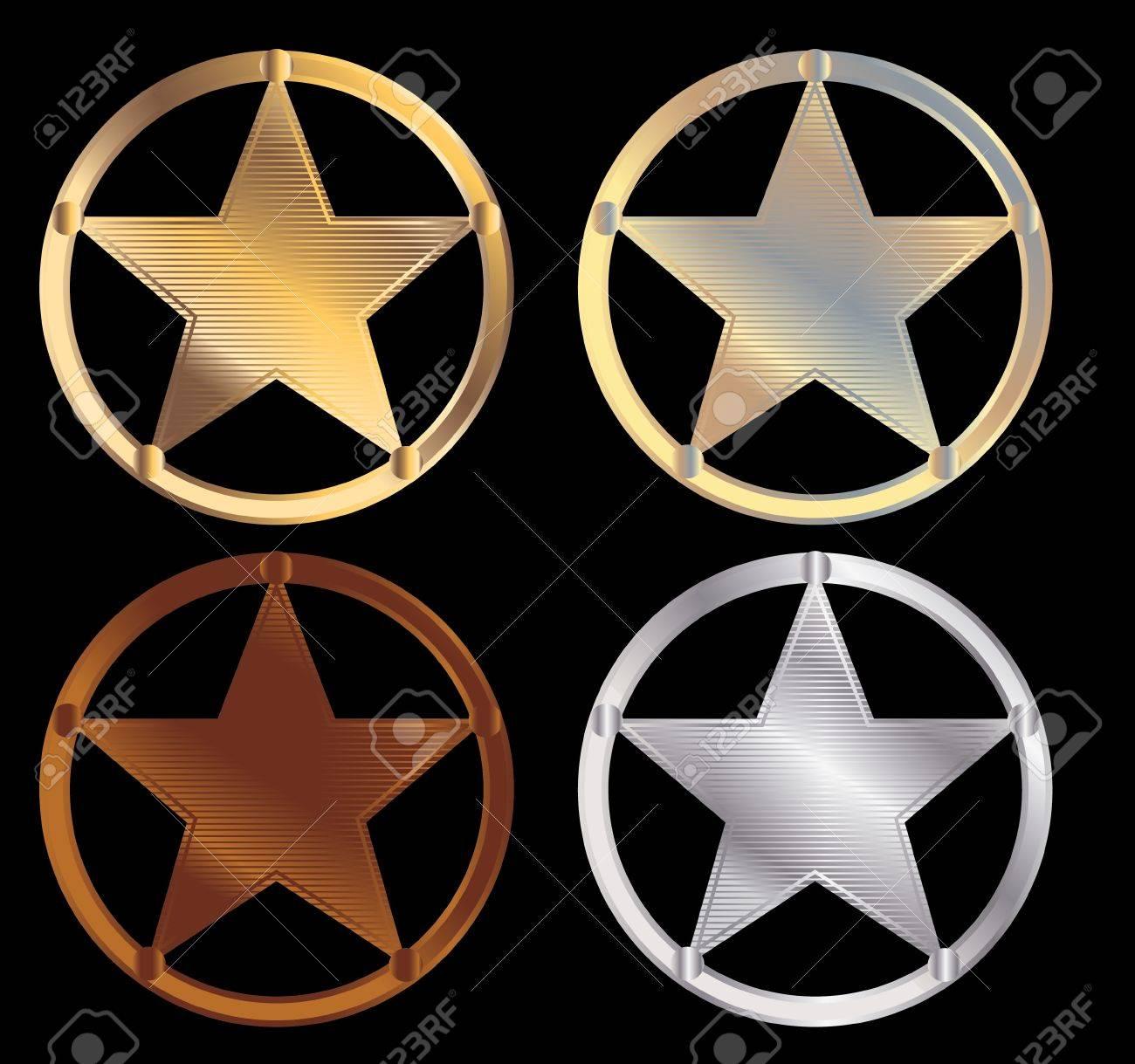 Shiny metallic sheriff stars on a black background Stock Vector - 7315160