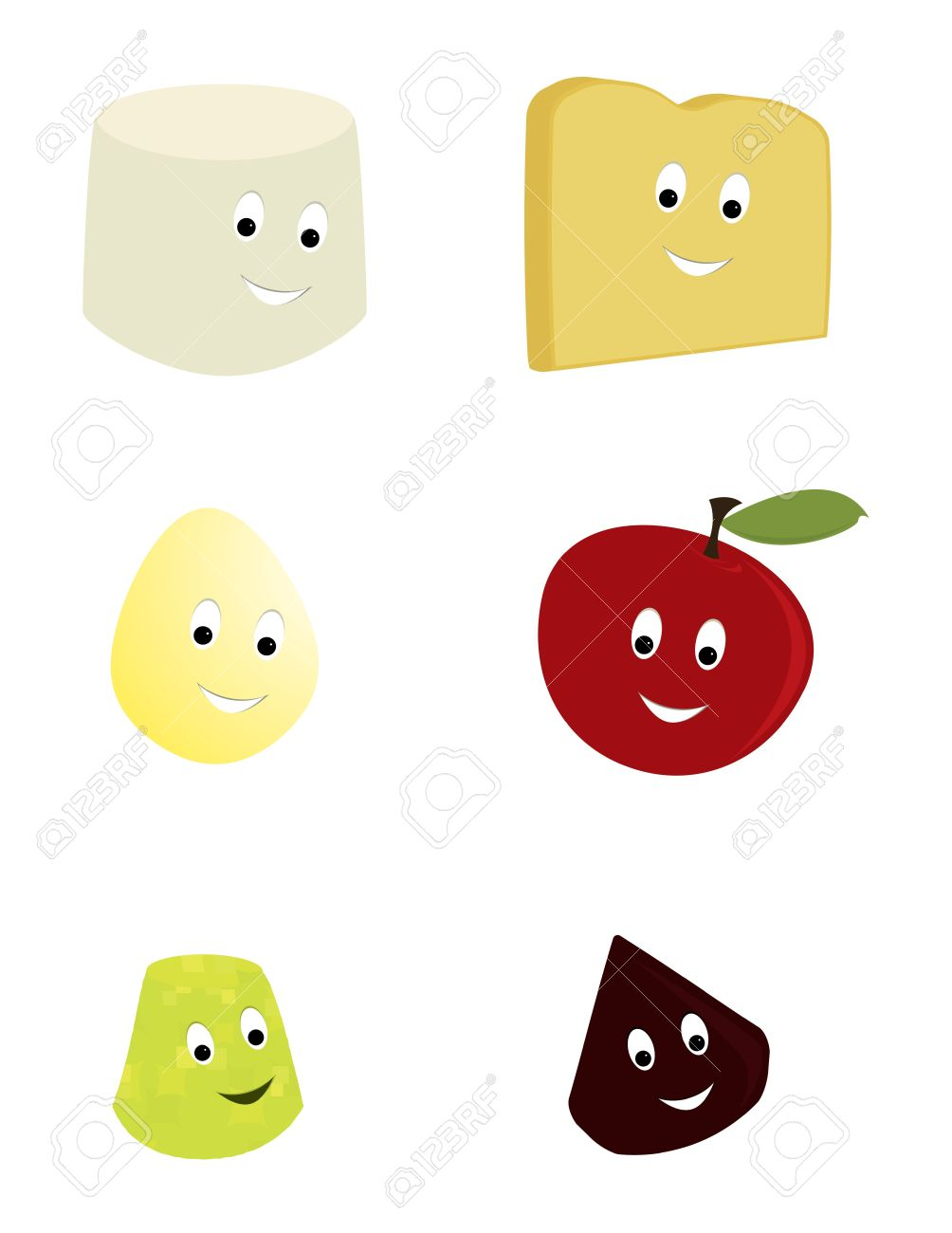 Happy smiling food characters on a white backgound Stock Vector - 7315092
