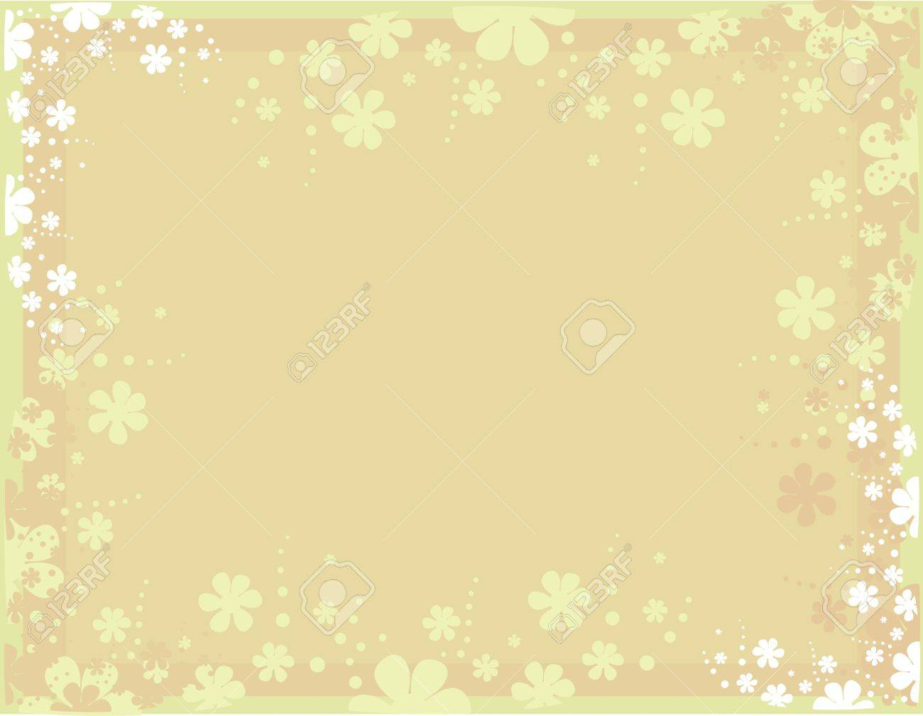 Tan background with scattered white and pink flowers Stock Vector - 7315136