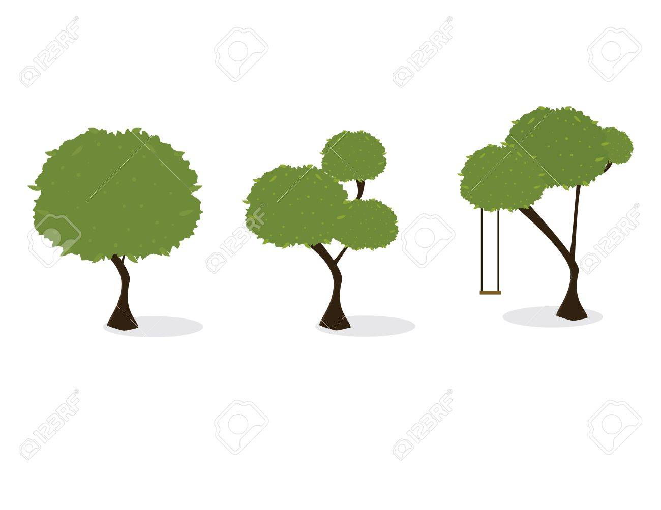 Three trees with green leaves and a slight shadow on a white background Stock Vector - 7315124