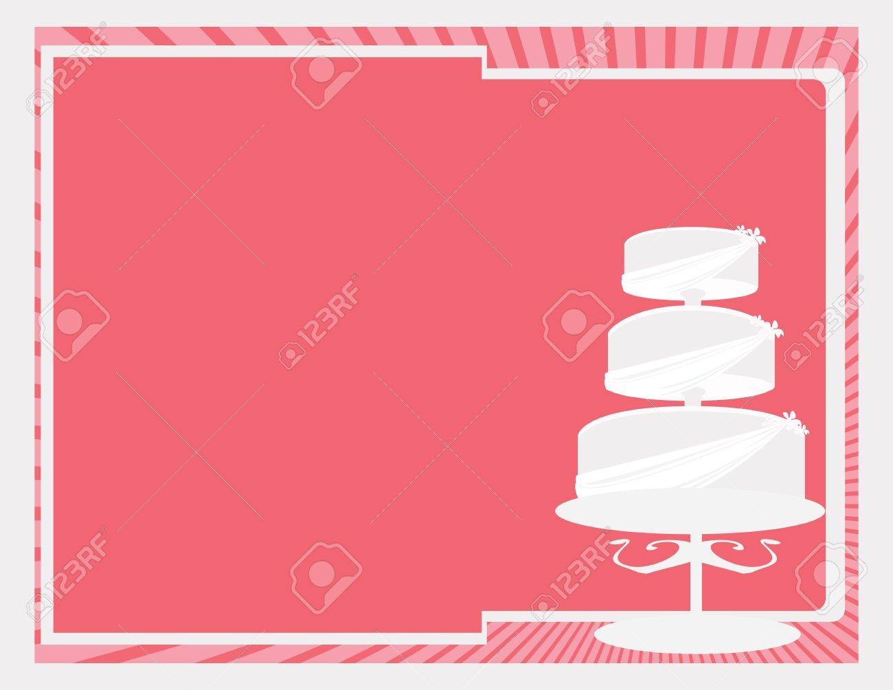 Near white three tier cake on a pink background Stock Vector - 7315114