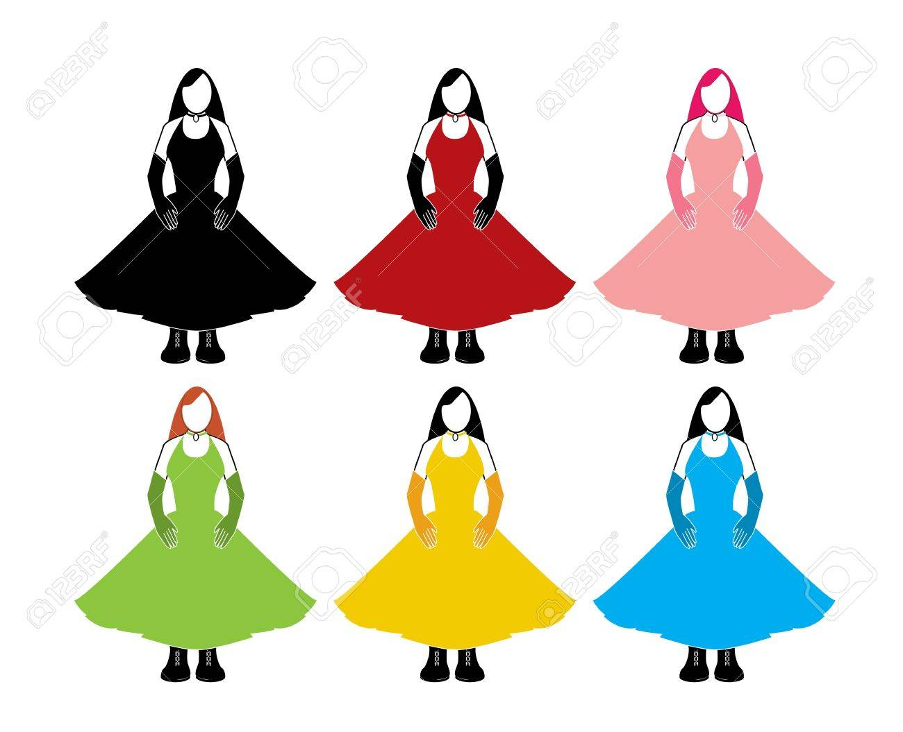Variations of a woman in a sleeveless dress and long gloves on a white background Stock Vector - 7315110