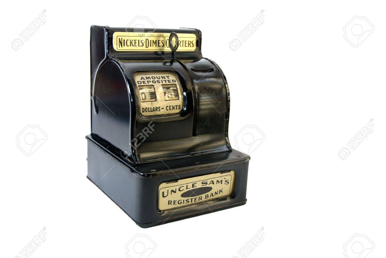 Antique toy cash register, isolated on white Stock Photo - 2917078