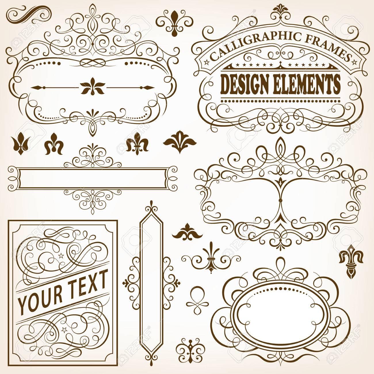 Conjunto De Bastidores Caligráficos Y Elementos De Diseño De ...