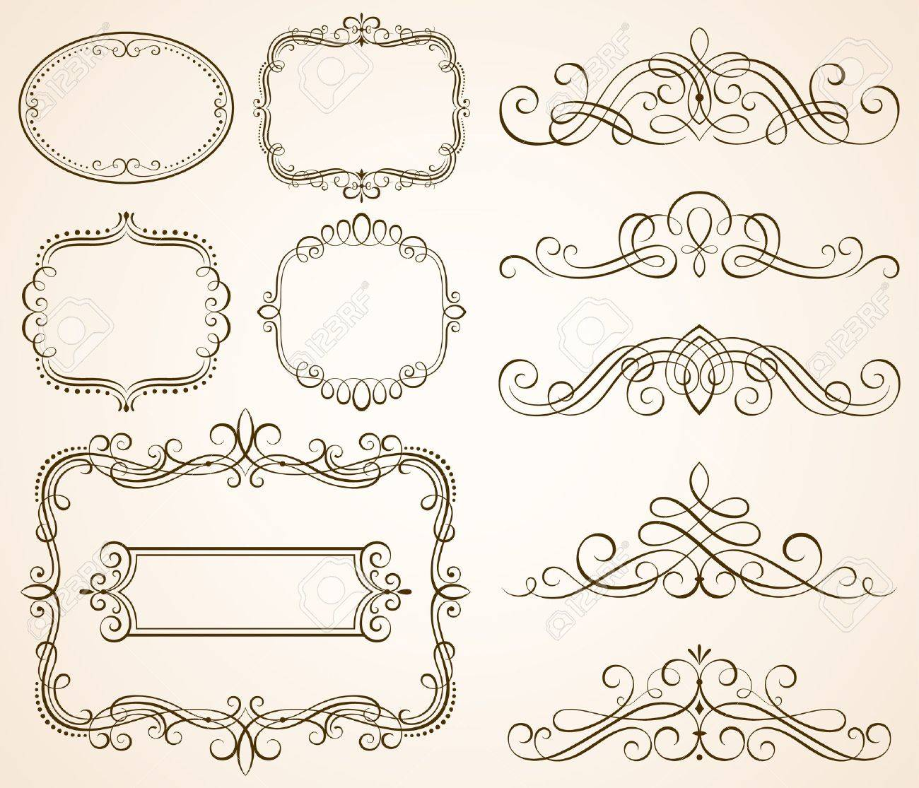 Set of decorative frames and scroll elements vector illustration. Stock Vector - 45260708