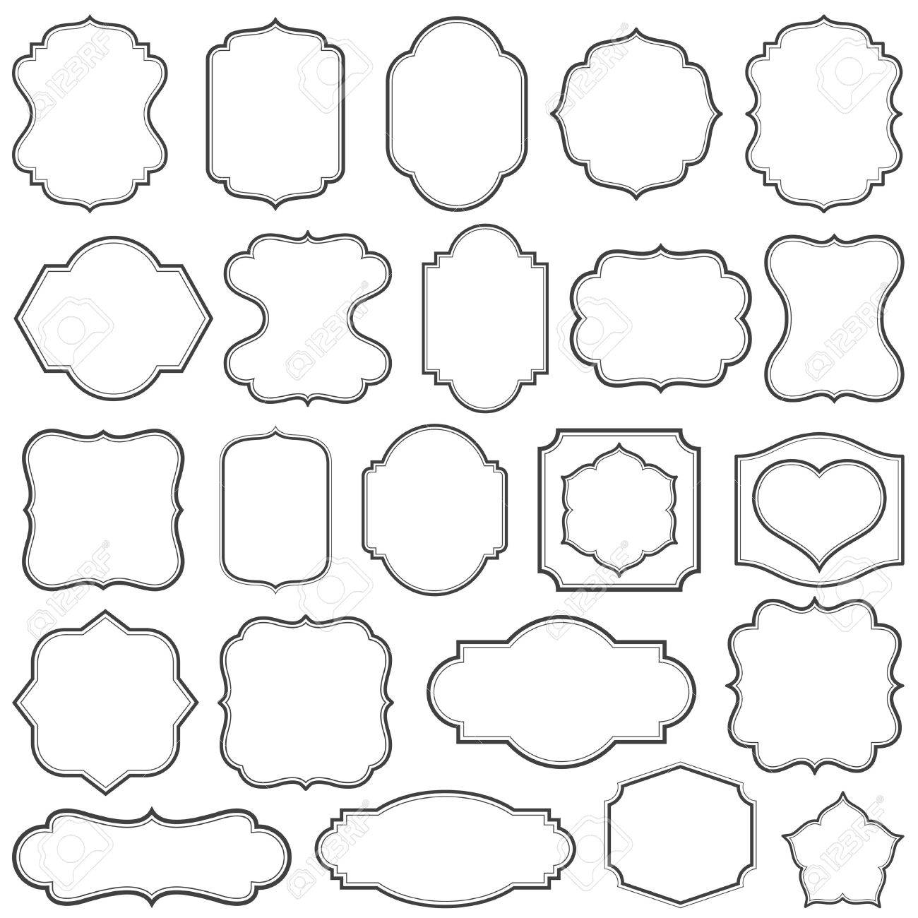 Set Of Simple Frames Vector Illustration. Royalty Free Cliparts ...