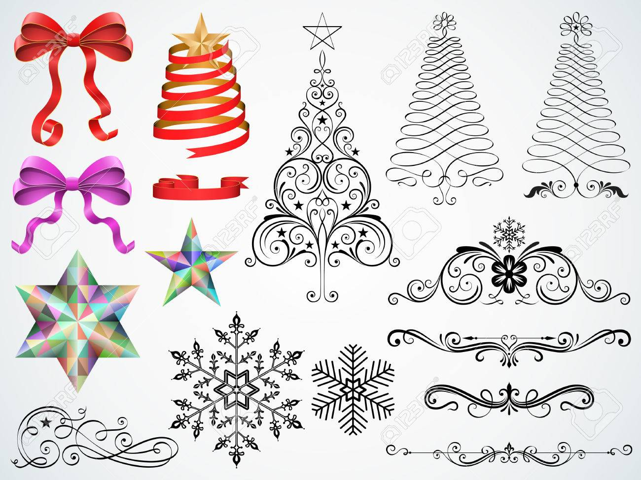 Career christmas ornaments - Set Of Christmas Ornaments And Design Elements Vector Illustration Stock Vector 45260725