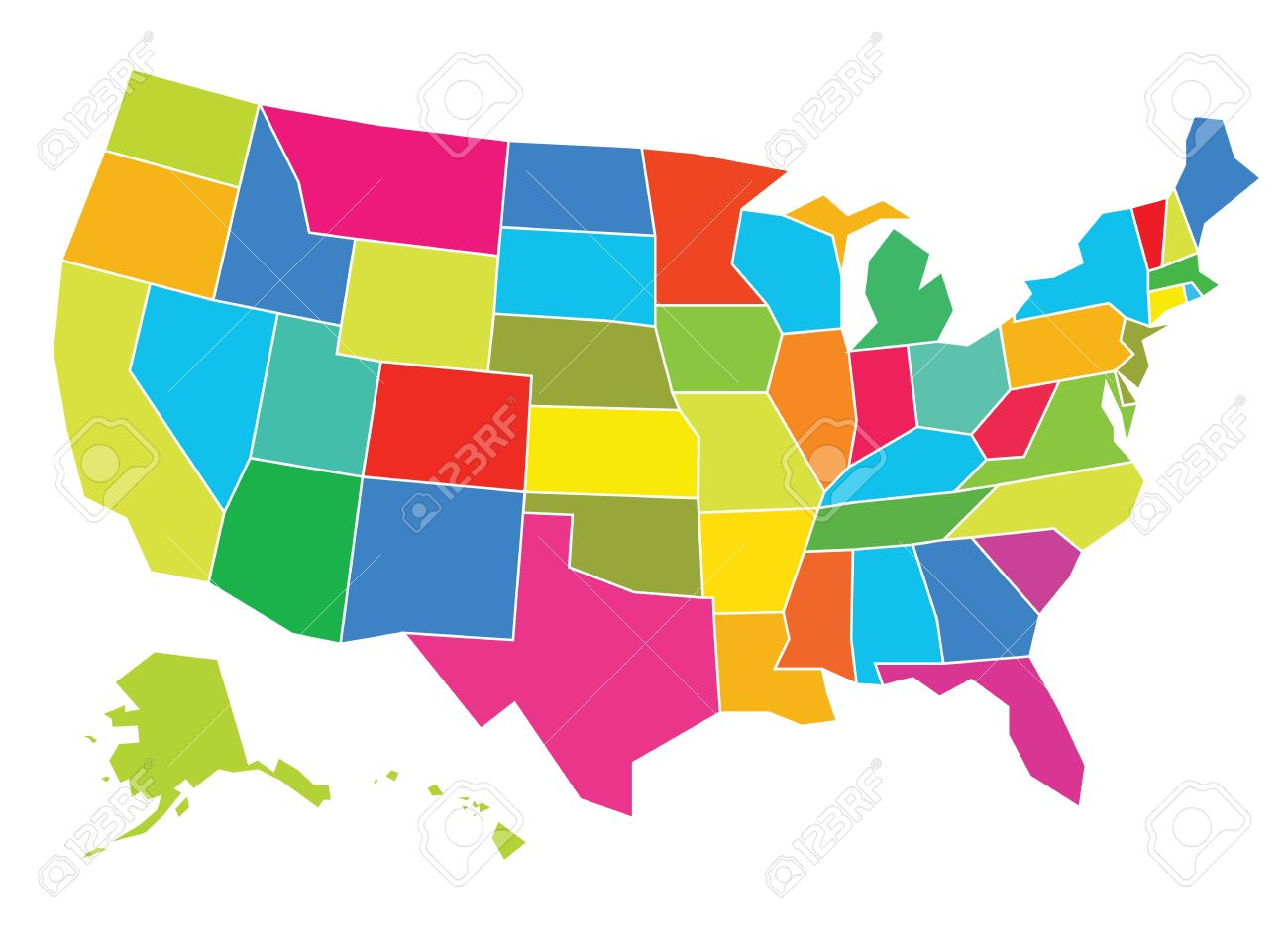 Multicolored USA Map Vector Illustration. Well Constructed For ...
