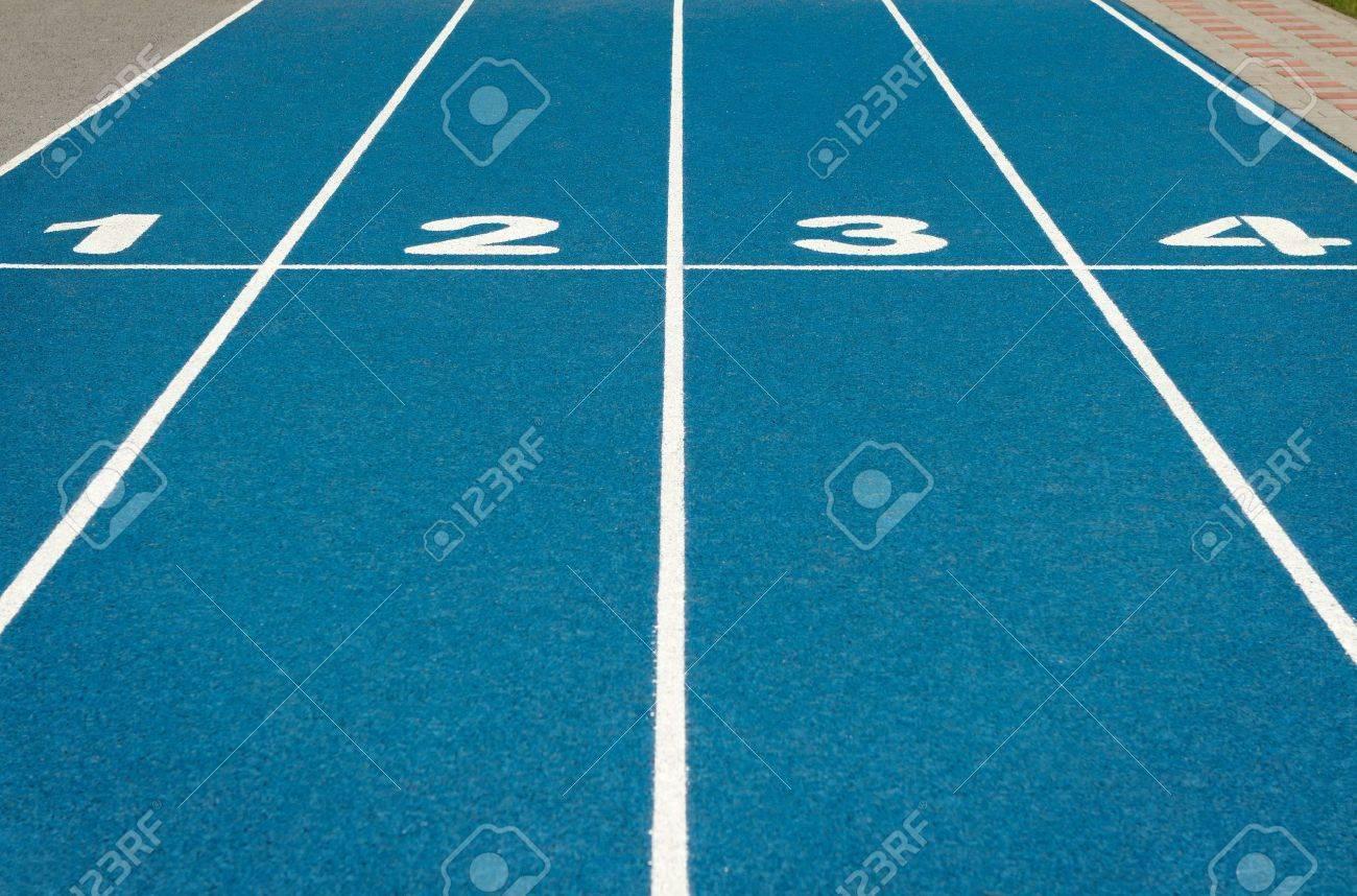 Blue running track