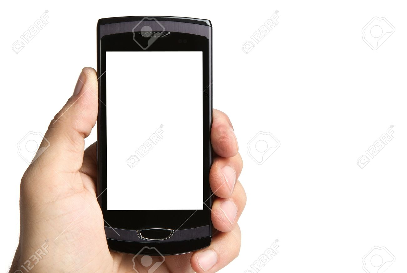 Hand holding blank mobile phone Stock Photo - 9970433