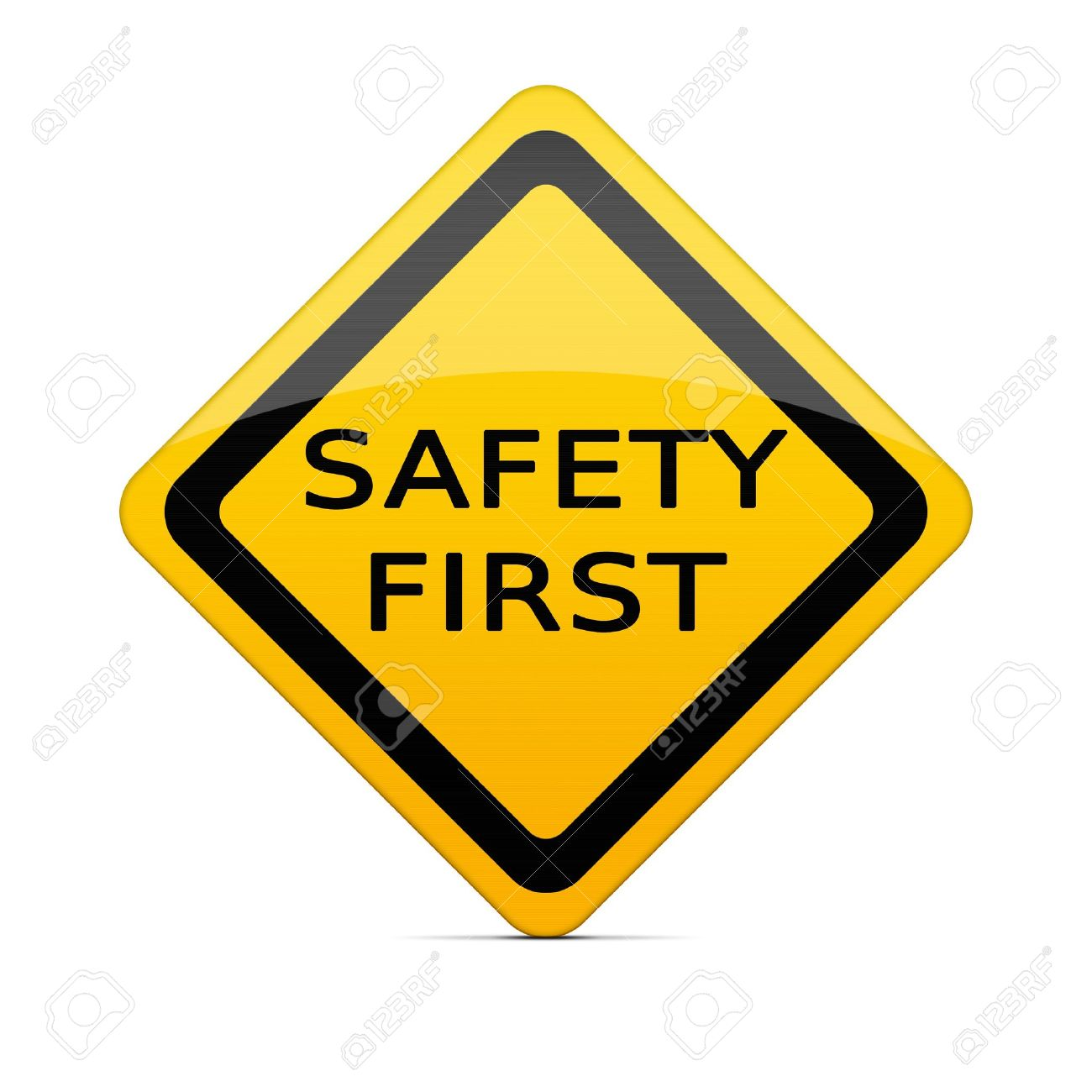 safety first sign on white with clipping path stock photo picture