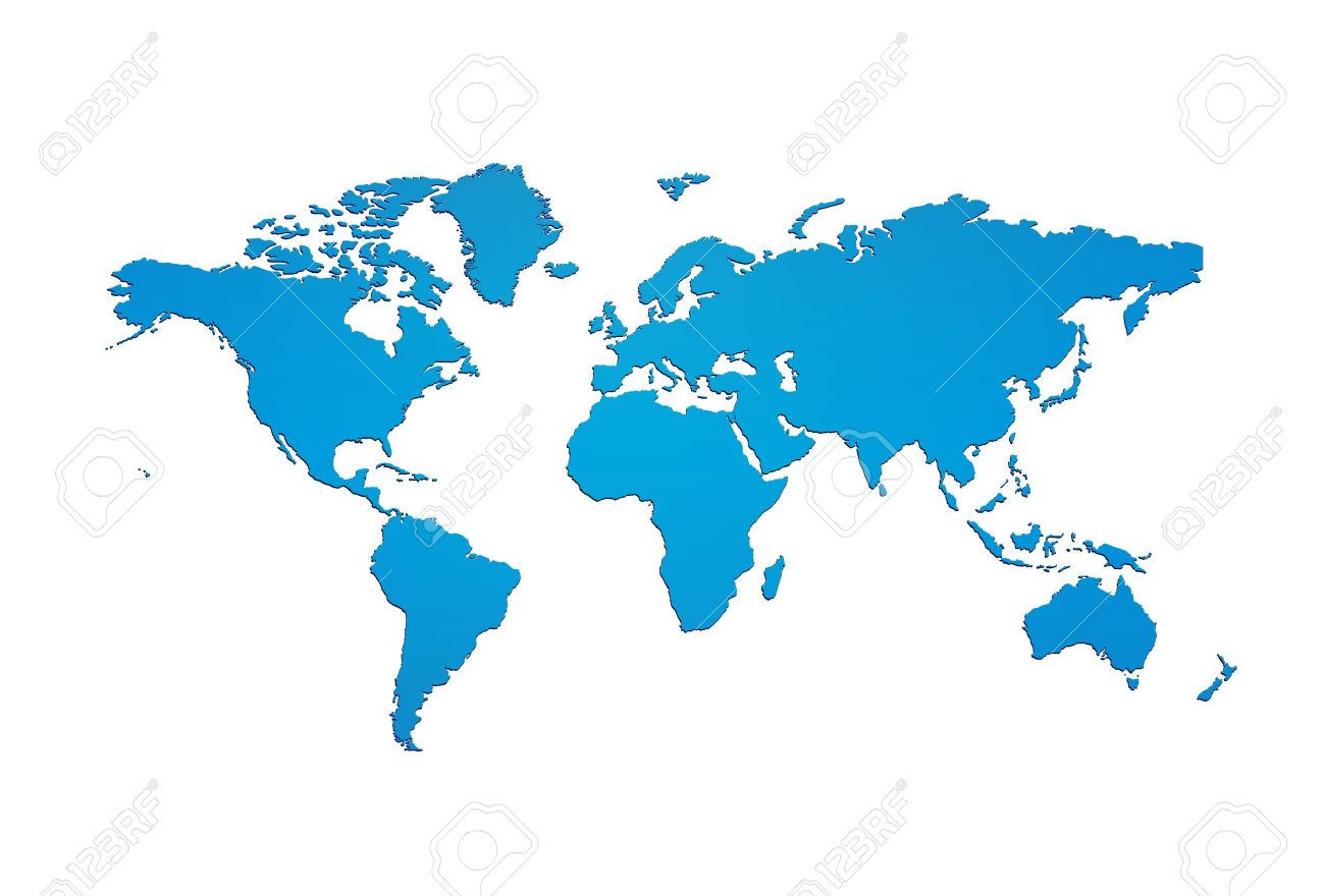 Blue World Map Silhouette Stock Photo Picture And Royalty Free