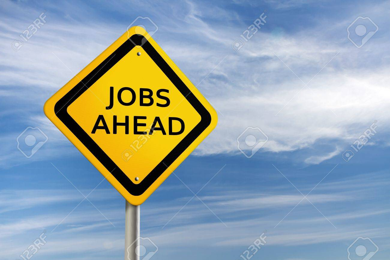 JOBS AHEAD road sign against  blue sky Stock Photo - 10709283